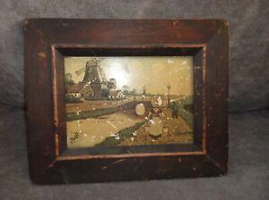 """Vintage Delft Mark Tiles Volendam Picture 10 3/8 X 8 3/8"""" Antique Wood Frame"""