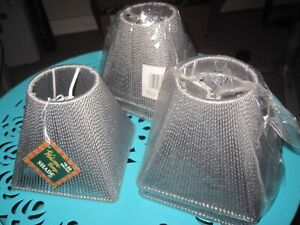 LOT 5 NEW SQUARE Gray Corded Clip-on SMALL LAMP SHADES, Welcome Lamp