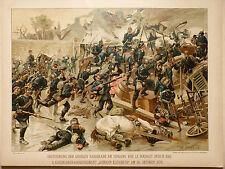 SPEYER-LE BOURGET 30 OCT. 1870 PRISE DE LA BARRICADE-RARE LITHOGRAPHIE 19ÈME -BE