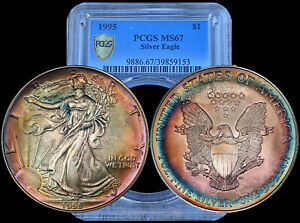 1995 PCGS MS67 Gem Colorful Toned American Silver Eagle w/ TrueView