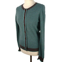 Boden Size 10 Blue Grey Striped Cotton Cashmere Blend Cardigan Fitted Autumn