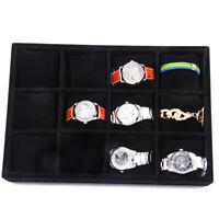 Velvet 12 COMPARTMENTS Watch Bracelet Display Tray Case Holder Organizer