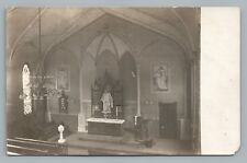 """Interior of our Church...Remodeled"" RPPC Indiana? Photo—Jesus Painting 1908"