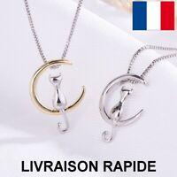 collier pendentif lune chat animaux bijoux cadeau anniversaire femme mère