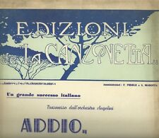 Addio Signora di Gino Simi Spartito per Canto e Pianoforte 1923