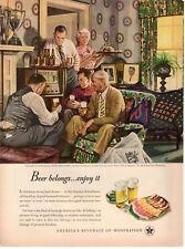 1947 ORIG VINTAGE US BREWERS FOUNDATION BEER MAGAZINE AD ILLUS BY STEVAN DOHANOS