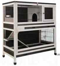 Double Decker Rabbit Hutch Guinea Pig Cage 2 Storey Wooden Pet Ramp Den Indoor