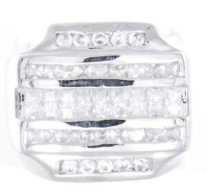 Sterling Silver Men's White Rectangular CZ Stones Ring