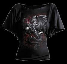 Spiral Dragon Rose Viscose Latin Boatneck Top L