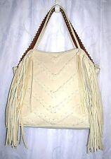 Big Buddha Western Ivory Fringe Gold Studded Trim Satchel Purse Hand Bag