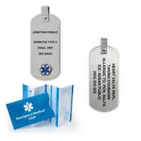 Anodized Titanium Medical Alert ID Pendant. Custom Engraved! Silver Color!