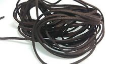 5 YARDS - 15 FEET Espresso Brown Faux Suede Cord Leather Lace Ribbon Soft #39