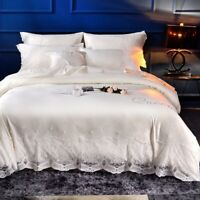 4pcs Imitated Silk Luxury Bedding Set Bed Linens Lace Duvet Cover Bed Sheet