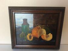 "Peggy Dinges ""Texas Pumpkin"" Oil On Canvas Painting Wood Framed 25x21"