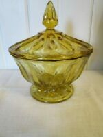 """Anchor Hocking  Glass Amber  Candy Dish w Lid Pedestal 7"""" Tall"""
