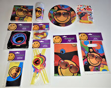 88 tlg Smiley Party-Set Geburtstag Becher Teller Trinkhalm Servietten  Ballons