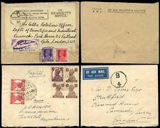 INDIA KG6 1943-44 OHMS + AIRMAIL OCTAGONS C8 + B4 KARACHI + TONK RAJ...2 COVERS