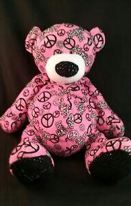 "Ganz PEACE, BE HAPPY Pink Teddy Bear 14"" Plush Very Soft Stuffed Toy"