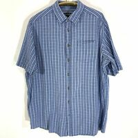 Eddie Bauer Blue Cotton Plaid Casual Shirt SZ XLT