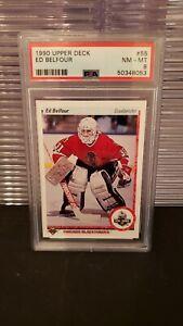 1990 UPPER DECK ED BELFOUR ROOKIE RC PSA 8 NM-MT CHICAGO BLACKHAWKS
