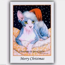 Sphynx Cat art Christmas cards 6 pack from original painting by Suzanne Le Good