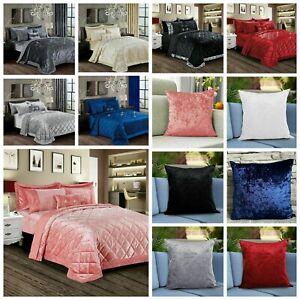 3 Piece Crushed Velvet Quilted Bedspread Comforter Bedding Set OR Cushion Cover