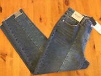 Women's Next Relaxed High Rise Raw Cut Hem Jeans, Mid Blue, Sizes 8 to 18, BNWT
