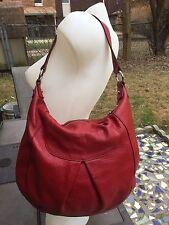 EUC FURLA Cherryred Pebbled Genuine Leather Large HOBO/handbag