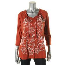 NEW! STYLE & CO Size M Orange Embroidered 3/4 Sleeves Peasant Top  Blouse