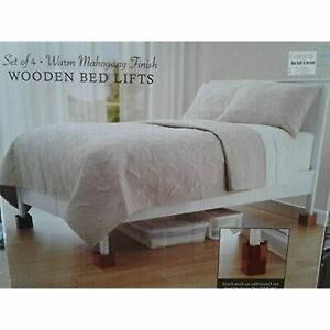 Set of 4 Wooden Bed Lifts: Warm Mahogany Finish