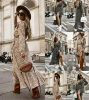 Womens Loose comfy Long Dresses trim Casual sexy Ladies Party Maxi Wrap Dresses