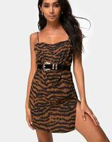 MOTEL ROCKS Datista Slip Dress in Animal Drip Brown XS  (MR64)