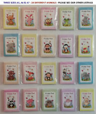 FOUR x A7 FRIDGE MAGNETIC NOTEPAD, MEMO BLOCK, NOVELTY MAGNET GIFT, CUTE ANIMALS