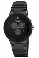 CITIZEN $350 MEN'S ECO-DRIVE BLACK CHRONOGRAPH WATCH, DATE, SUB-DIALS AT2245-57E