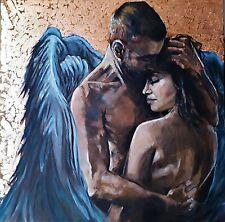 Peinture tableau huile sur toile 3D, portrait ange feuilles d or 50X50 cm