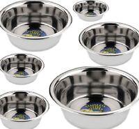 STAINLESS STEEL BOWLS - (13cm - 33cm) - Pet Dog Cat Animal dm Food Water Dish cm