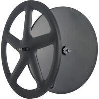 Carbon 700C 56mm Front 5 Spokes Rear Disc Track/ Road Bike Wheels Clincher UD