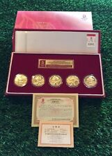 Ltd Ed 2008 BEIJING OLYMPICS Medallion MASCOT COIN Set in Box Gold Plated Bronze