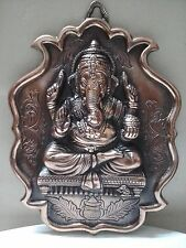 Wall Hanging Lord Ganesha Statue Copper Plated Ganesh Elephant God Figure Metal