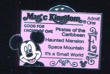 WDW Hidden Mickey Magic Kingdom Ticket E Mickey Mouse Disney Pin 51164