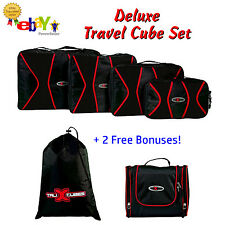 Talix 6 Piece Travel Packing Set: 4 Organizer Cubes + Laundry and Toiletry Bags