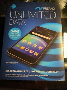 AT&T LG PHOENIX 4 UNLIMITED DATA NO CONTRACT PREPAID SMARTPHONE SEALED BOX