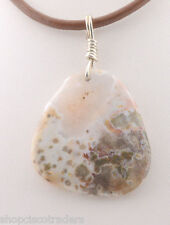 Ocean Jasper Wire Wrap Pendant Necklace A59-16 Healing Crystal FREE GIFT BOX