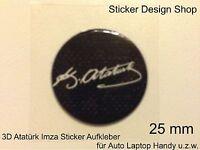 3D Atatürk Imza Sticker Aufkleber Auto Laptop Handy Selbsklebend Türkiye Schwarz