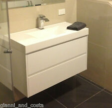 Bathroom Vanity Unit - 900mm Polyurethane Wall Hung with Polymarble Basin