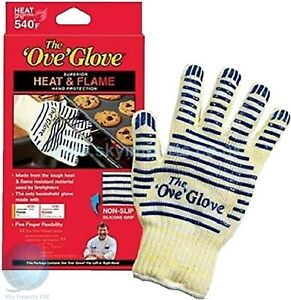 OVEN BBQ KITCHEN GLOVE MITT HIGH HEAT FLAME RESISTANT NON SLIP SILICON STRIPS