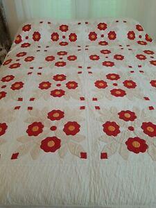 """Vintage Antique Applique Quilt ~ Beautiful Red Floral ~ 81"""" x 71"""""""