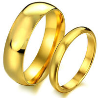 Stainless Steel Couples Gold Plated Engagement Jewelry Ring Wedding Band SJ316
