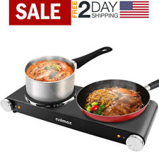 Cusimax 900W+900W Double Hot Plates for Cooking Portable Electric Double Burner