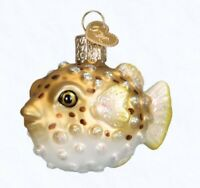 Old World Christmas Pufferfish Glass Ornament 12495 FREE BOX Sea Life Fish New